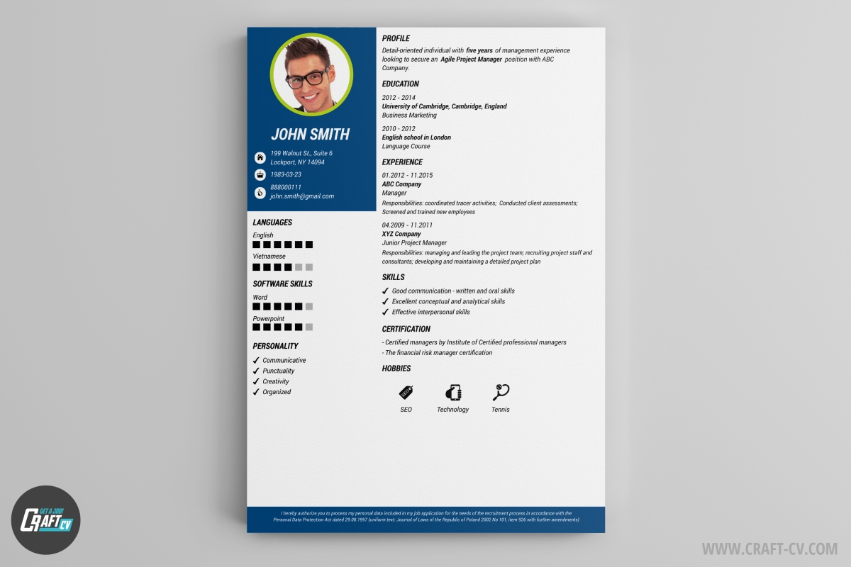 Resume Template Moon