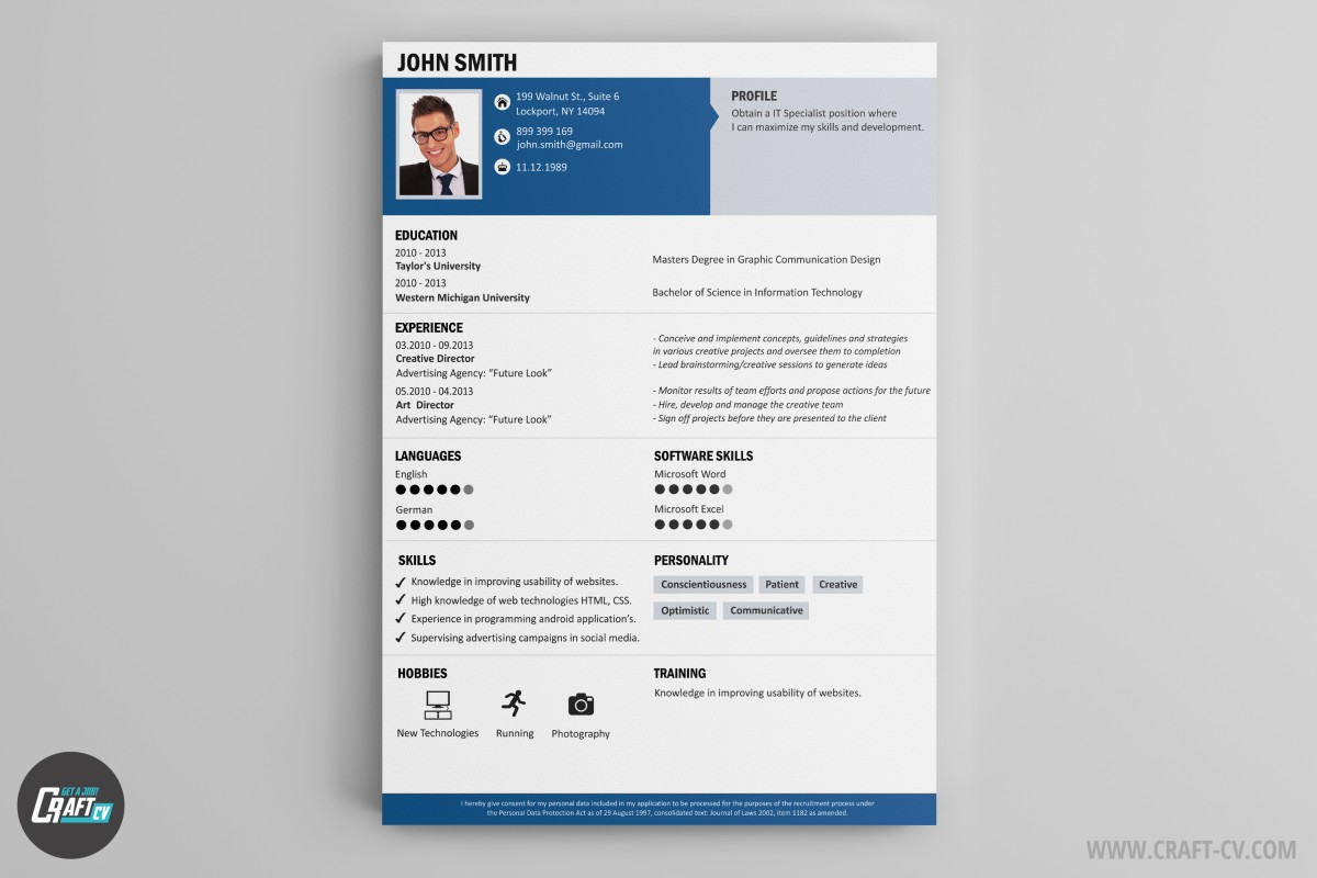Resume builder creative resume templates craftcv for Builder online
