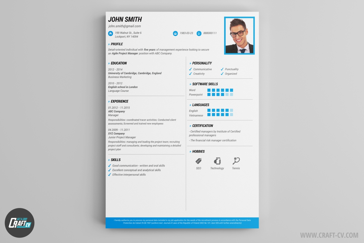 resume maker creative resume templates craftcv this resume example is just what you need it fits most of job offers and looks stunning stand out our creative resume and build your
