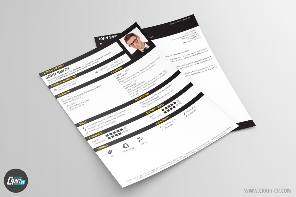 Creative CV Template Black Cleaver | CV Maker | CraftCv