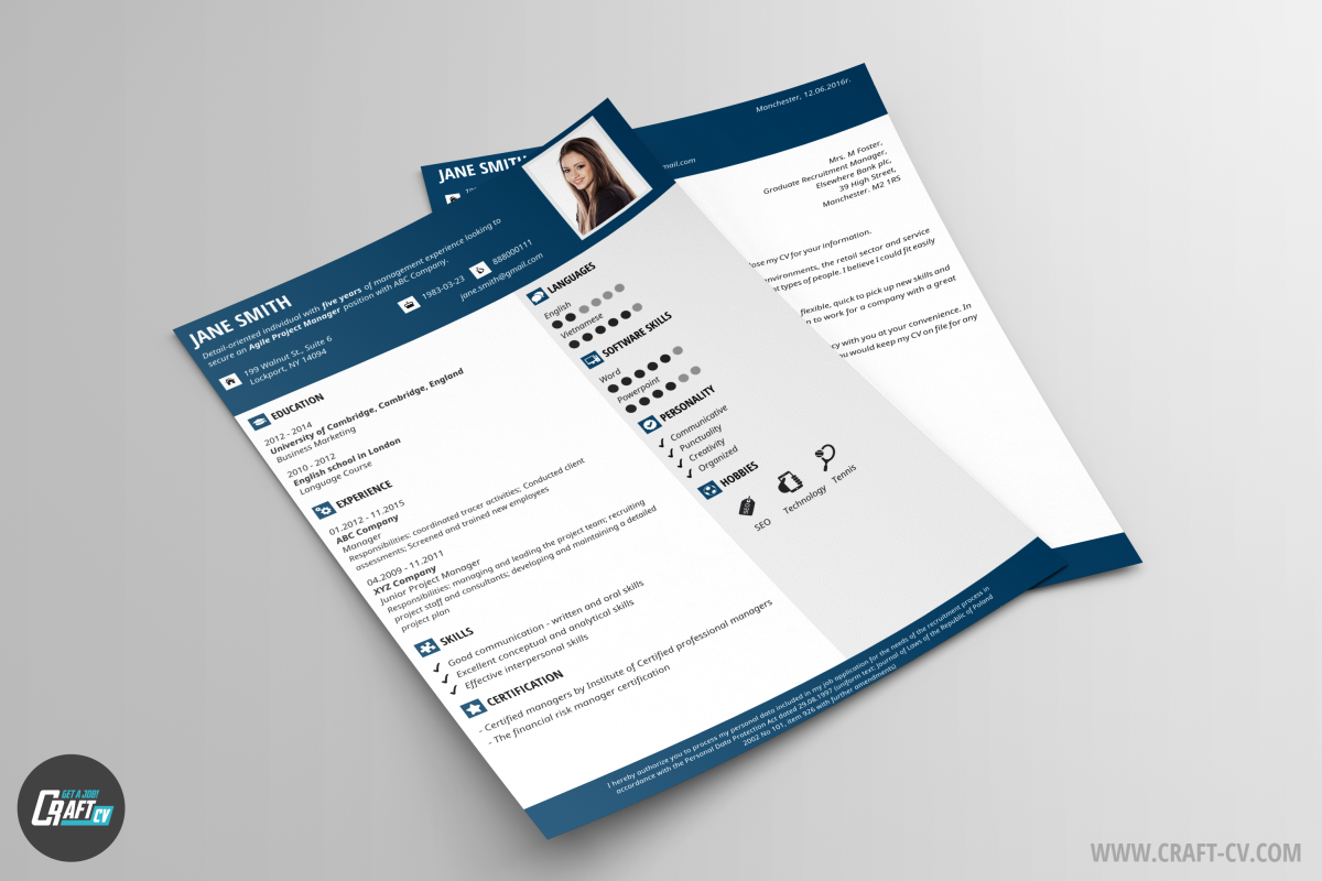 page Resume CV Template Cover Letter for