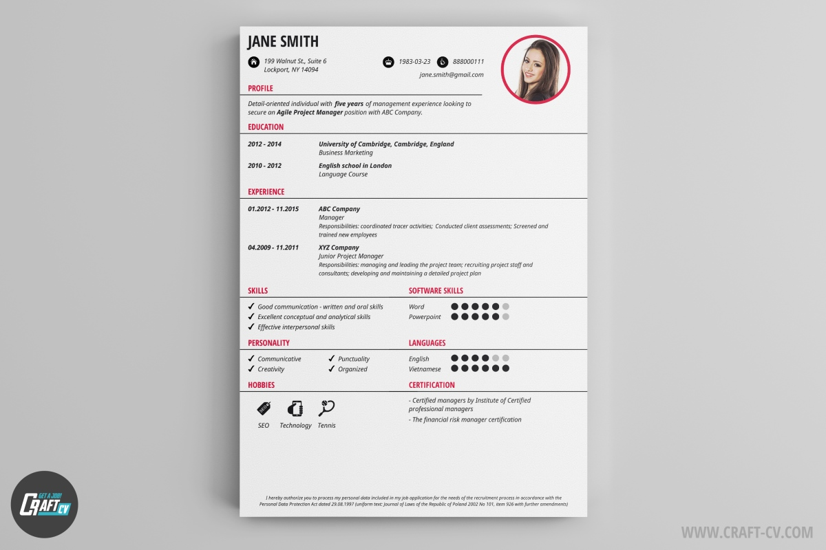 cv maker professional cv examples online cv builder craftcv you need a simple and clean cv you are not looking for a job in the creative industries orb just might be the thing for you