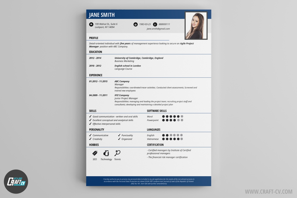 cv maker professional cv examples online cv builder craftcv small details like thin lines that mach the headers color will make a good impression on the recruiter