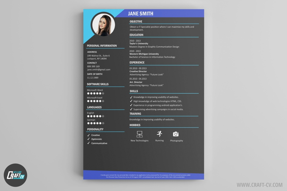 CV Rush Template Has Been Created For Modern Employees Looking Creative Branches Strictly Connected With The Use Of Technologies Which Can Apply