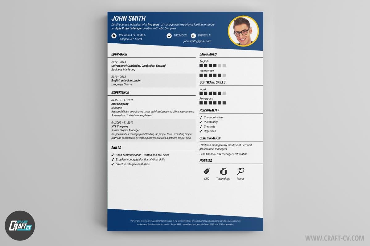 resume header template
