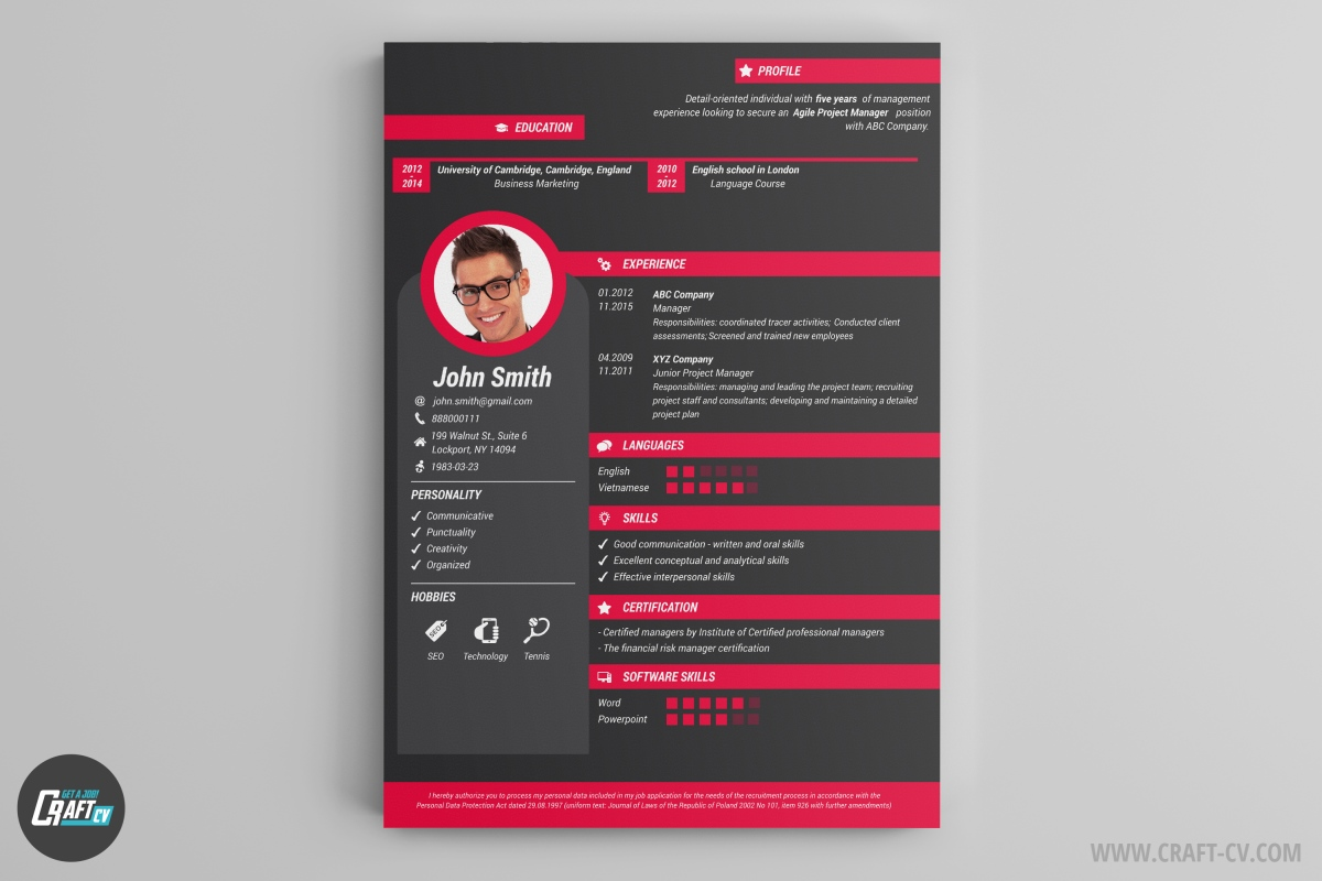 cv maker professional cv examples online cv builder craftcv force is the most creative cv template you can get 8 modern color compositions make it one of a kind