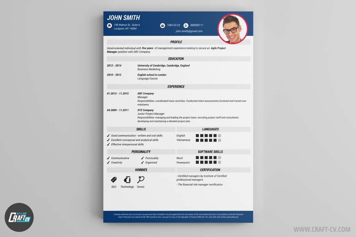 gral is a clean cv example with some interesting graphic features headers of the data sections are in light gray boxes wich is a simple way to make this
