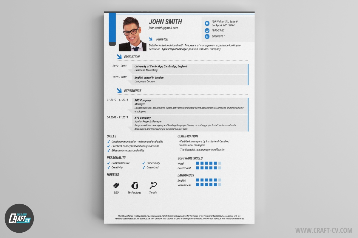 Creative CV Creative CV  Professional Resume Layout