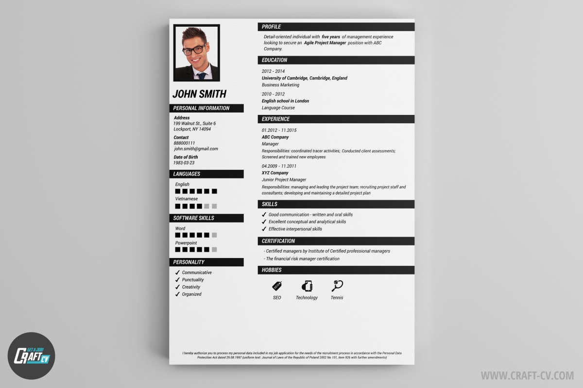 cv template cambridge
