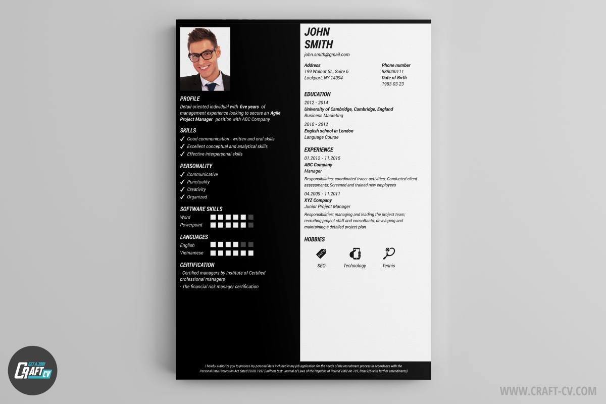 cv maker professional cv examples online cv builder craftcv slice your competition our machete the main feature is the crooked text reading this cv makes you bend your head and every interaction is a good