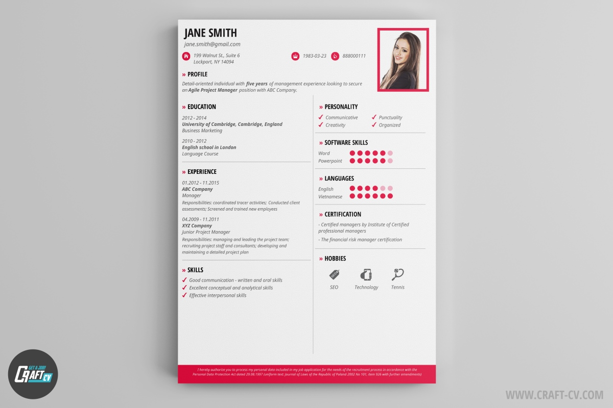 this cv example is just what you need it fits most of job offers and looks stunning stand out with our creative cv and build your