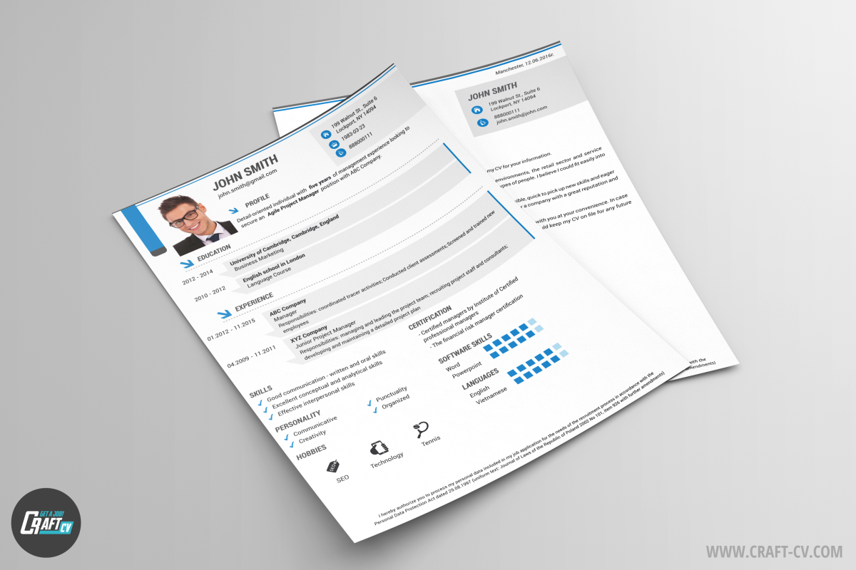 CV Template and Cover Letter Iris