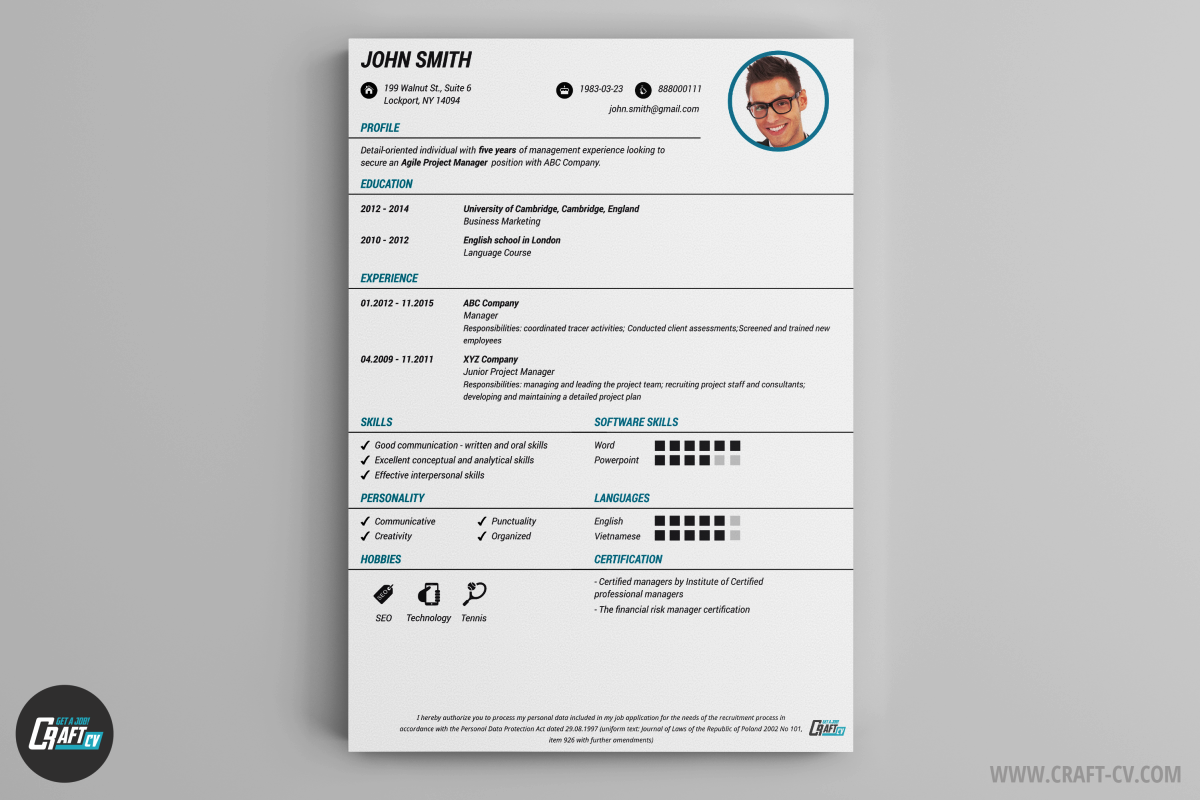 Creador de CV   Plantillas de CV   Ejemplo de Currículum   CraftCv