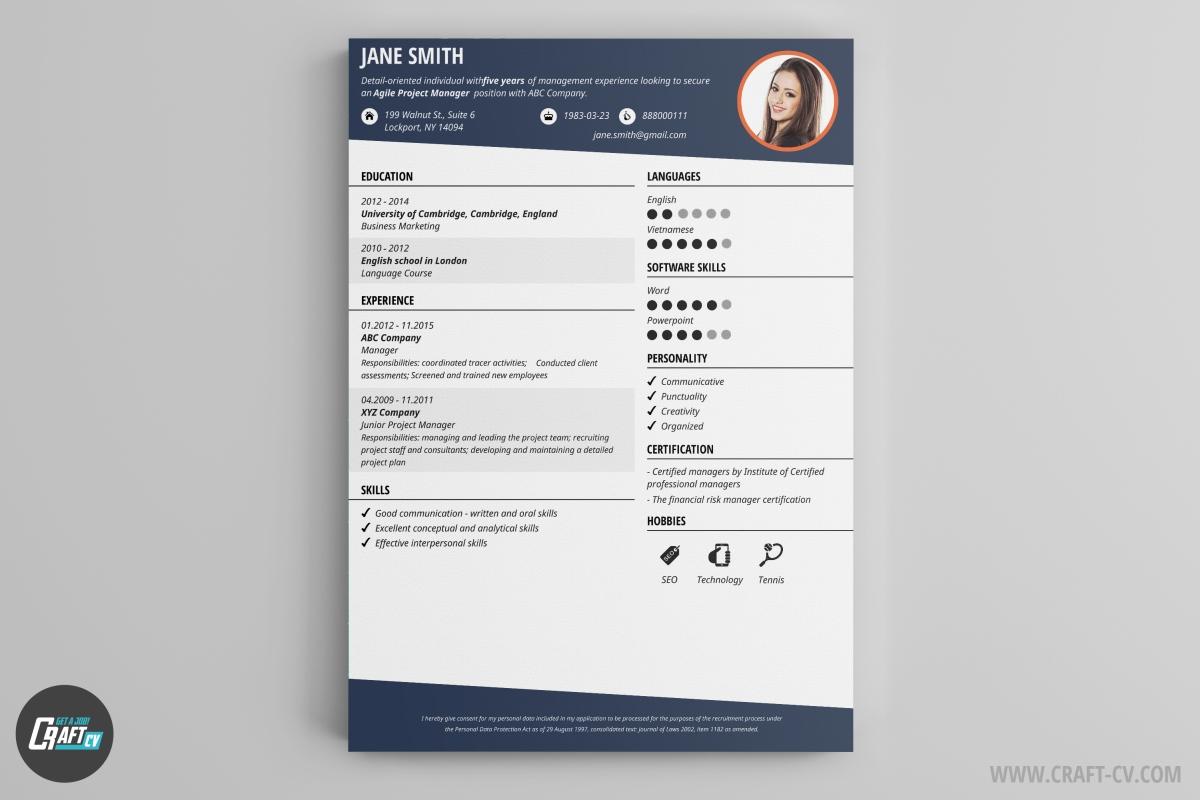 Super Modello Curriculum Vitae | Creatore di CV | Modello CV | CraftCv DH59